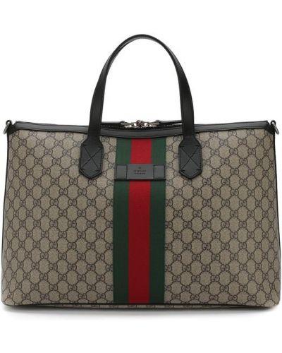 Дорожная сумка кожаная текстильная Gucci