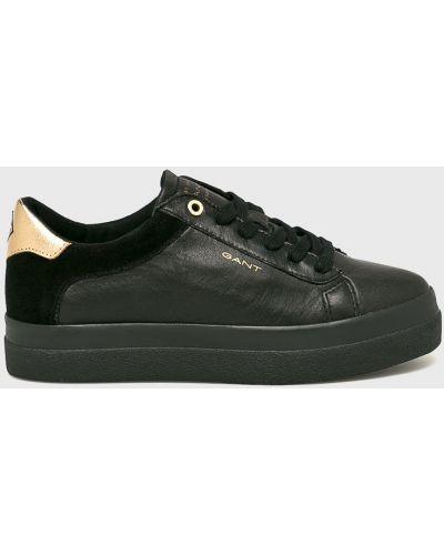 Кожаные кроссовки черные текстильные Gant