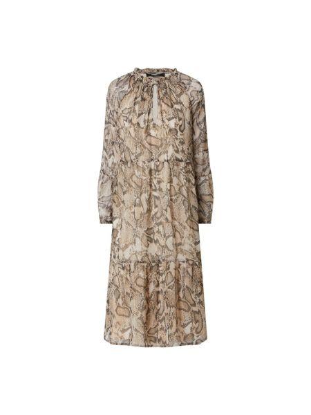 Sukienka rozkloszowana z falbanami - beżowa Ilse Jacobsen