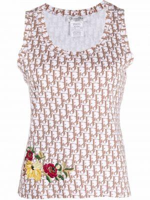 Biała koszulka z haftem Christian Dior