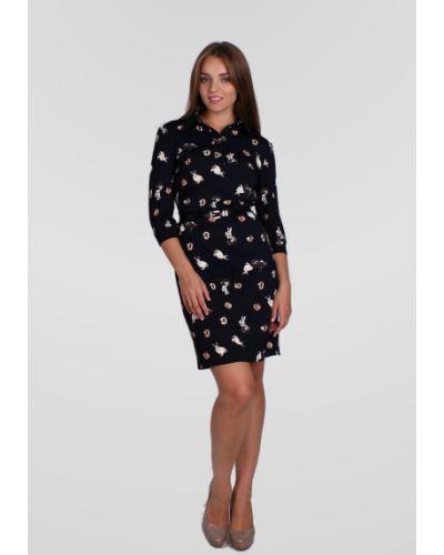 Повседневное с рукавами прямое платье с воротником Lila Classic Style