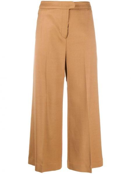 Коричневые укороченные брюки с карманами свободного кроя с высокой посадкой Pt01
