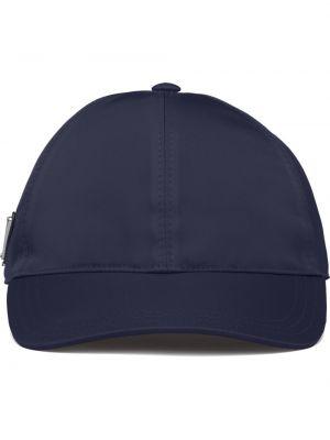 Niebieska czapka bawełniana Prada