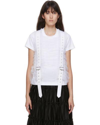 Biały t-shirt bawełniany z paskiem Noir Kei Ninomiya