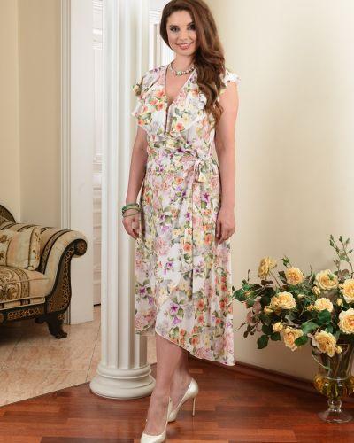 Приталенное летнее платье с запахом с V-образным вырезом на торжество Salvi-s