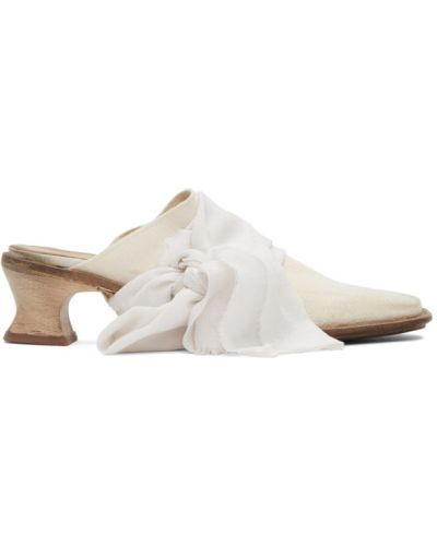 Кожаные белые мюли на каблуке квадратные Cherevichkiotvichki