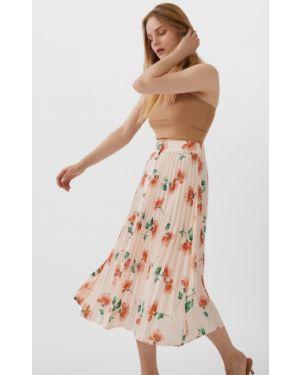 Плиссированная юбка на пуговицах базовый Stradivarius
