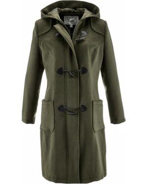Пальто с капюшоном зеленое на молнии Bonprix