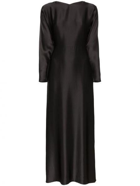Черное классическое платье макси с длинными рукавами на молнии Deitas