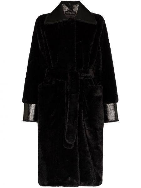 Кожаное пальто с накладными карманами с карманами Stand Studio