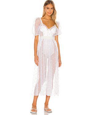 Платье миди с вышивкой на пуговицах For Love & Lemons