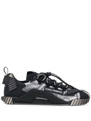 Skórzane sneakersy sznurowane czarne Dolce And Gabbana