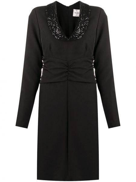 Черное прямое платье мини с пайетками с V-образным вырезом Blumarine