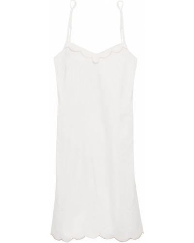 Biała satynowa koszula nocna z haftem Ginia