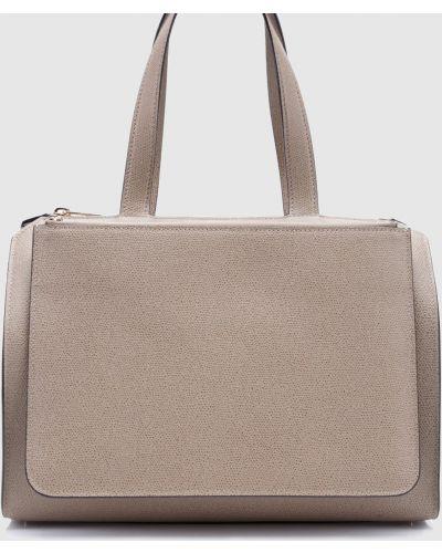 Кожаная бежевая кожаная сумка Valextra