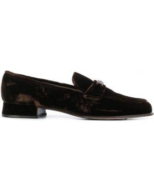 Бархатные лоферы на каблуке винтажные с пряжкой Prada Pre-owned