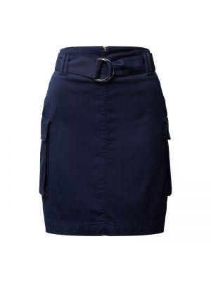 Niebieska spódnica mini z paskiem bawełniana Hugo