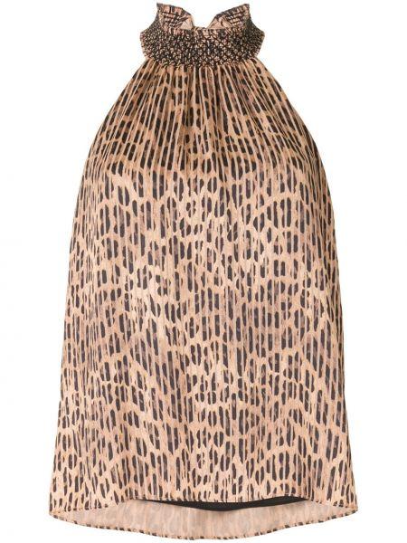 Хлопковая коричневая блузка с воротом халтер с вырезом Alice+olivia