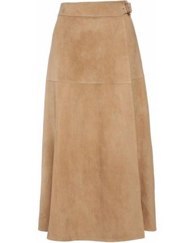 Замшевая бежевая юбка миди с поясом Ralph Lauren Collection