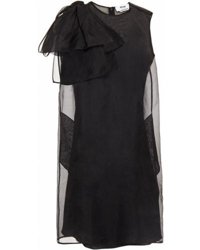 Шелковое черное платье мини на крючках Msgm