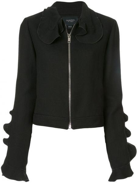 Шелковый черный короткая куртка с воротником Giambattista Valli