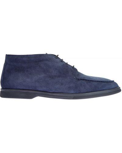 Замшевые синие ботинки на шнуровке Canali