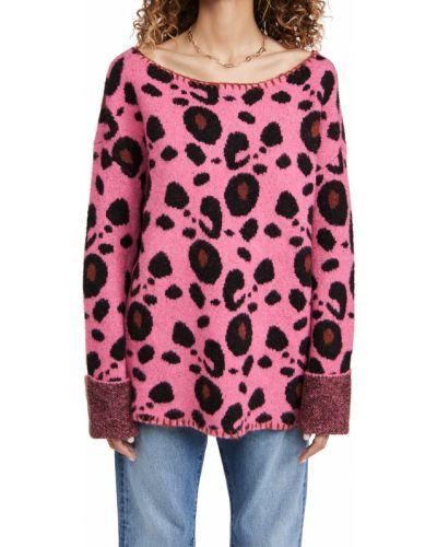 Мягкий розовый шерстяной длинный свитер One Teaspoon