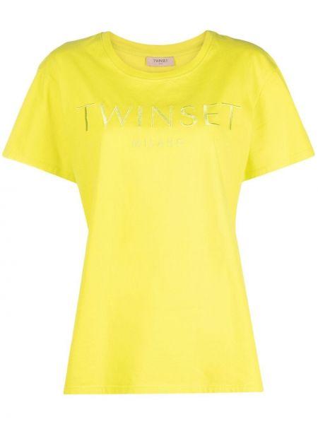 Прямая желтая футболка с вышивкой Twin-set