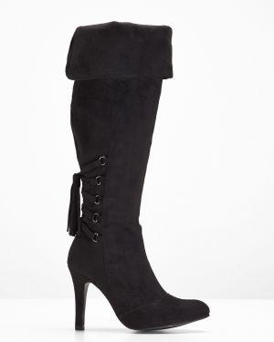 Ботфорты черные на шнуровке Bonprix