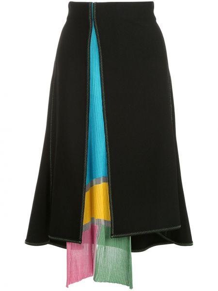 Черная нейлоновая расклешенная юбка с разрезом I-am-chen