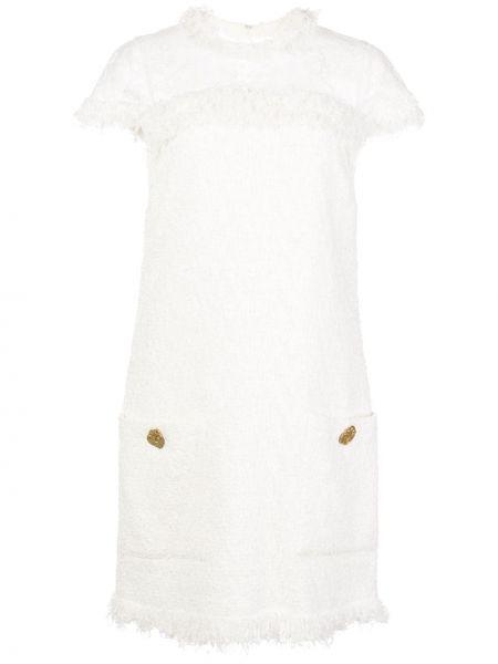 Платье мини на пуговицах в рубчик твидовое с вырезом Oscar De La Renta