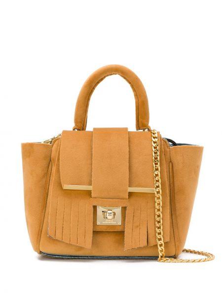 Бежевая сумка на цепочке с бахромой из верблюжьей шерсти Alila