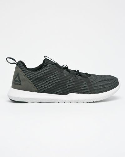 Кожаные кроссовки текстильные на шнуровке Reebok