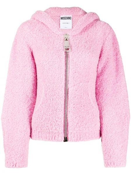 Шерстяная розовая куртка с капюшоном на молнии с декоративной отделкой Moschino