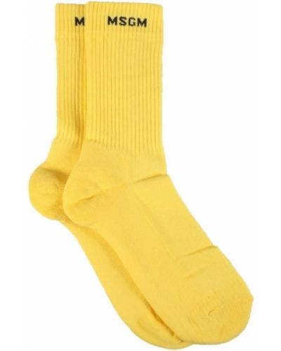 Żółte skarpety w paski Msgm