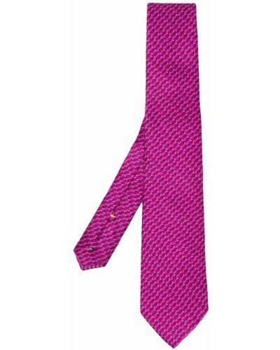 Różowy szalik z jedwabiu z printem Canali