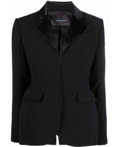 Однобортный черный приталенный удлиненный пиджак Mugler