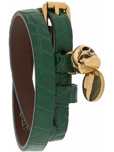 Кожаный браслет с подвесками с черепами Alexander Mcqueen