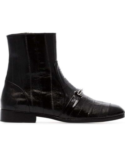 Черные ботинки без каблука на молнии из крокодила Newbark