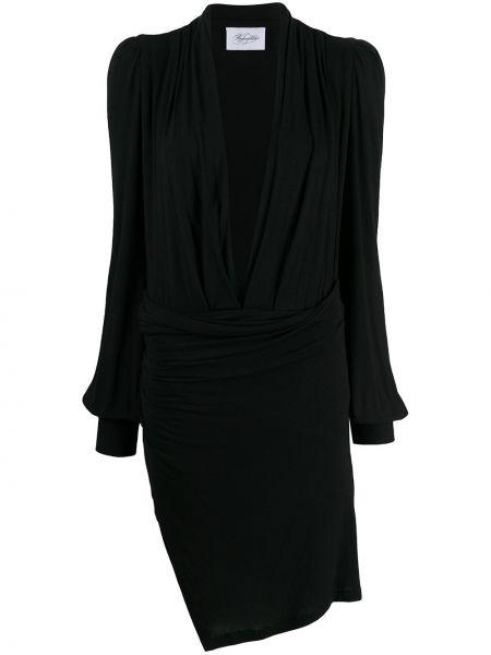 Асимметричное черное приталенное платье с рукавами с V-образным вырезом Redemption