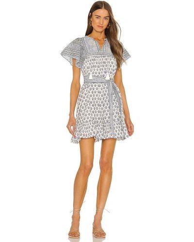 Платье мини с декольте - синее Cleobella