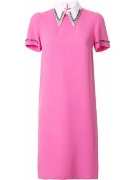 Różowa sukienka mini krótki rękaw z wiskozy N°21