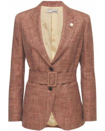 Шелковый коричневый пиджак с карманами Lardini