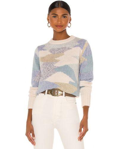 Prążkowany niebieski sweter wełniany Rebecca Taylor