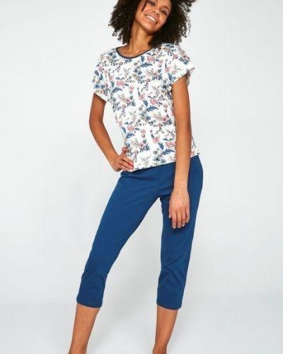 Хлопковая синяя футболка с короткими рукавами Cornette