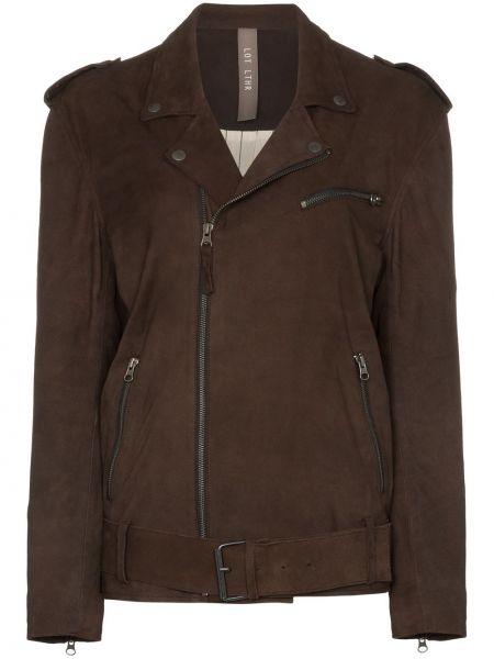 Коричневая замшевая куртка байкерская Lot Lthr