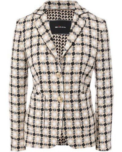 Коричневый кожаный деловой приталенный пиджак Kiton