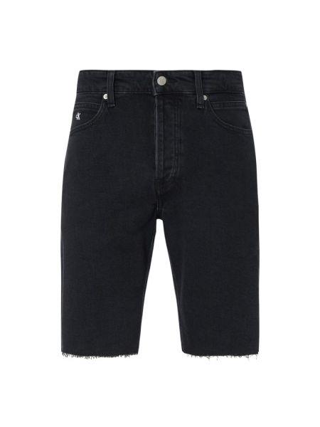 Bawełna bawełna czarny dżinsowe szorty z paskami Calvin Klein Jeans