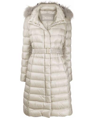 Пальто с капюшоном длинное стеганое Herno