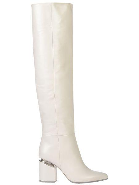 Ботфорты на каблуке кожаные белый Vic Matie